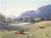 Sale 9021 - Lot 505 - Sidney Woodward Smith (1904 - 1972) - Resting Cattle, Gloucester Pasture 21.5 x 29 cm (frame: 35 x 43 x 4cm)