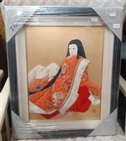 Sale 9071 - Lot 1099 - A Japanese Framed Textile Relief of a Geisha, 53 x 45cm