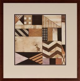 Sale 9101 - Lot 2037 - Geometric Abstract decorative print, frame: 81 x 78 cm -