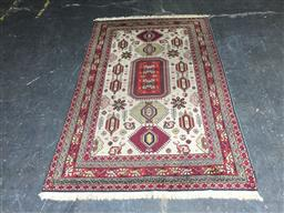 Sale 9137 - Lot 1017 - Hand knotted red, green and cream tone carpet (211 x 128cm)