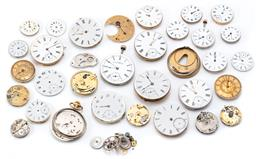 Sale 9173 - Lot 97 - A COLLECTION OF WATCH MOVEMENTS DIALS AND PARTS; assorted sizes, mainly Waltham, sizes 25 - 45mm.