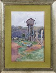 Sale 8420 - Lot 573 - Albert Henry Fullwood (1863 - 1930) - Farm Scene 44.5 x 29.5cm