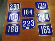 Sale 8451 - Lot 1059 - Collection of Eight French Enamel House Numbers