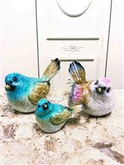 Sale 8577 - Lot 41 - A handpainted glazed ceramic birds trio - Condition: As New - Measurements: small bird 6cm wide x 9cm high - large birds 13cm wide x...