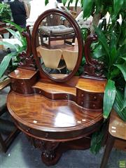 Sale 8598 - Lot 1026 - Victorian Mahogany Dressing Table, with carved supports, one frieze & five trinket drawers & cabriole legs, stamped Harding & Sons,...