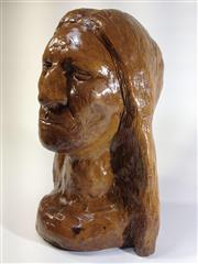 Sale 8600A - Lot 65 - Clay sculpture of a female bust, signed K. Jones, H 22 x W 16cm.