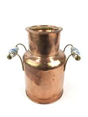 Sale 8688A - Lot 77 - French Copper Milk Churn with Porcelain Handle, height: 38cm