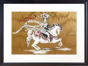 Sale 8703A - Lot 35 - Artist unknown, print of a lady on a white horse total frame size 71cm x 93cm