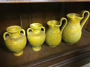 Sale 8730B - Lot 90 - Pair of Ceramic Double Handled Urns with a Graduated Pair of Ceramic Jugs H: 31cm