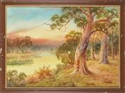 Sale 8807 - Lot 2036 - William Lindley - River Scene at Dusk, 1927 54.5 x 76.5cm