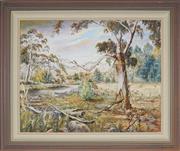 Sale 8932 - Lot 2026 - V. Carlisle - Bush Landscape 1986 (possibly Goulburn River)  oil on board, 80 x 75cm, signed -