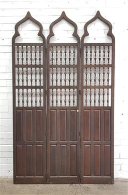 Sale 9108 - Lot 1055 - Timber 3 panel dressing screen (h:216 x w:129cm)