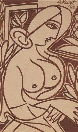 Sale 9141 - Lot 546 - George Keyt (1901 - 1993) - Seated Female Nude, 1982 63 x 37 cm (mount: 82 x 51 cm)