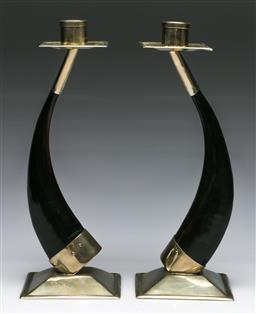 Sale 9148 - Lot 88 - Pair of Argentinian horn and chrome candle sticks (H:26.5cm)