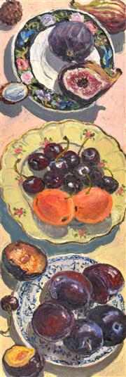 Sale 8389 - Lot 522 - Lucy Culliton (1966 - ) - Still Life with Fruit, 2001 27 (h), 84.5 (l), 50.5cm (w)