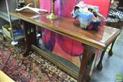 Sale 8444 - Lot 1054 - 1930s/40s Blackwood Hall Table, with pierced end supports & stretcher