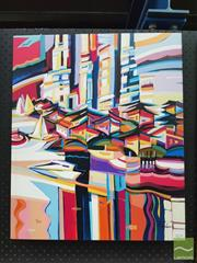 Sale 8449 - Lot 2018 - Natalie Rozenbaum - Colourful Harbour 60 x 50cm