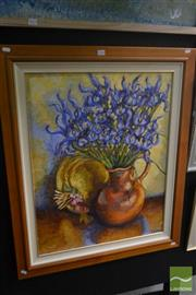 Sale 8525 - Lot 2024 - Artist Unknown, Still Life - Iris, acrylic on canvas, 75 x 60cm, signed lower right