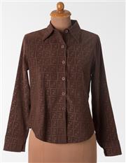 Sale 8550F - Lot 44 - A vintage Fendi soft brown shirt with F motif pattern, size 10.