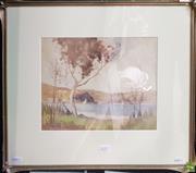 Sale 8595 - Lot 2015 - Mat Ainslie - Middle Harbour, 1910, watercolour (AF), 25.5 x 32cm (frame: 46 x 52.5cm), signed lower left