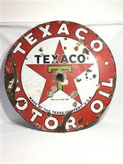 Sale 8600A - Lot 66 - Vintage enamel Texaco sign, D 106cm.