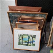 Sale 8636 - Lot 2050 - Group of (9) Assorted Artworks incl: original paintings by EM Evans, Early C20th countryscape watercolour, and framed decorative pri...
