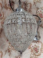 Sale 8676 - Lot 1047 - Pair of Crystal Drop Hanging Light Fittings