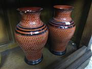 Sale 8730B - Lot 91 - Pair of Ceramic Urns in Burnt Orange H: 31cm
