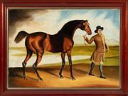 Sale 8908H - Lot 15 - ARTIST UNKNOWN, C19th Irish School - Horse and Groom image size 44.0 x 63.0cm