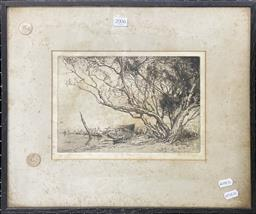 Sale 9111 - Lot 2006 - Squire Morgan The Tree drypoint etching,(AF - foxing) ed. 2/50, frame: 39 x 46 cm, signed lower right -