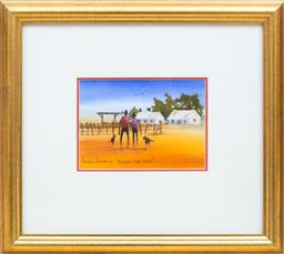 Sale 9155H - Lot 64 - A pair of Arthur Hamblin, Watercolours, Just talking & Across the yard.  each 13X17cm