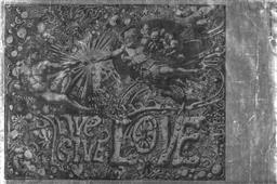 Sale 9157S - Lot 5008 - MARTIN SHARP (1942 - 2013) Live Give Love screenprint on silver reflective foil paper (unframed) 76 x 51 cm Big O Poster (BAT 8407)