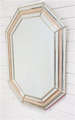 Sale 9154 - Lot 1013 - Art deco mirrored framed mirror - damage to frame edge (h:93 x w:68cm)
