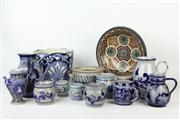 Sale 8461 - Lot 89 - Continental Blue and White Jardiniere With Other Ceramics Including Mugs