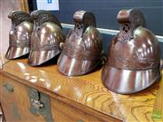Sale 8465 - Lot 1012 - Set of Four Reproduction Melbourne Fire Brigade Helmets