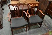 Sale 8500 - Lot 1047 - Pair of Georgian Style Armchairs with Pierced Splats and Black Horse Upholstery