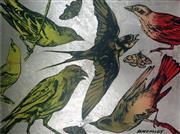 Sale 8507A - Lot 5008 - David Bromley (1960 - ) - Yellow and Orange Birds 91 x 121.5cm
