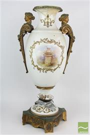 Sale 8533 - Lot 72 - Large Louis XVI Style Porcelain & Gilt Brass Mounted Vase On Plinth
