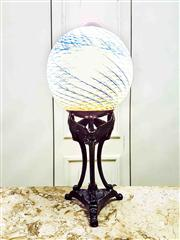 Sale 8577 - Lot 43 - A decorative vintage art deco style lamp with blue & green patterned glass globe shade with inline switch - Condition: As New - Mea...