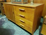 Sale 8661 - Lot 1021 - Small Timber Cabinet with Four Drawers & Single Door