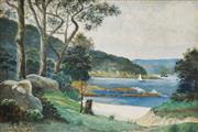 Sale 8764A - Lot 5057 - Dr. Robert Riches (1860 - 1918) - Little Sirius Cove, Mosman NSW c1900 24 x 37cm
