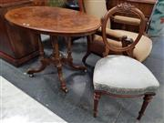Sale 8814 - Lot 1003 - Victorian Figured Walnut Occasional Table & Walnut Balloon Back Chair, the table with inlay & birds cage base, the chair with cream...