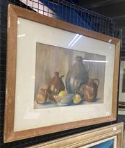 Sale 9004 - Lot 2004 - Evelyn Stransborough - Still Life with Lemons, pastel on paper, SLR