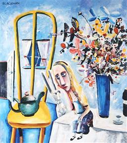 Sale 9081A - Lot 5035 - Charles Blackman (1928 - 2018) - Alice on the Table 32.5 x 28.5 cm (frame: 58 x 50 x 2 cm)