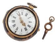 Sale 9074 - Lot 399 - AN ANTIQUE TORTOISE SHELL PAIR CASE VERGE POCKET WATCH; white enamel dial, Roman numerals, outer Arabic minute chapters, Louis XIV h...