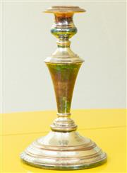 Sale 9066H - Lot 8 - A silver plated on copper candlestick of elegant design. H 24cm.