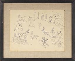 Sale 9099A - Lot 5048 - Donald Friend (1915 - 1989) Sketch Page (double sided) ink on paper (AF - tears and creases) 27 x 36.5 cm (frame: 40 x 49 x 4 cm) un...