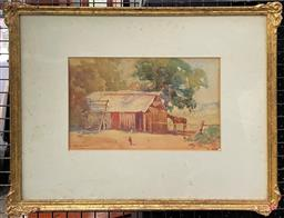 Sale 9103 - Lot 2004 - John Salvana (1873 - 1956) Farm Yard, 1924 watercolour, 17 x 26 cm (frame: 39 x 45 x 2 cm) signed and dated -