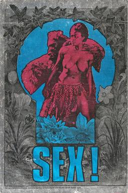 Sale 9157S - Lot 5007 - MARTIN SHARP (1942 - 2013) SEX! 1967 screenprint on silver reflective foil paper (unframed) (AF) 76 x 50.5 cm Big O Posters Ltd