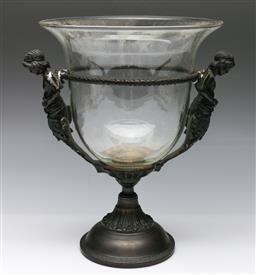 Sale 9173 - Lot 52 - A cast metal figural comport with glass bowl (H:33cm)